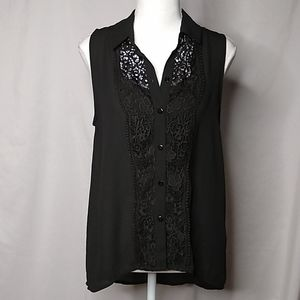 H&M Divided Sleeveless Button Up Lace Front Top Bk
